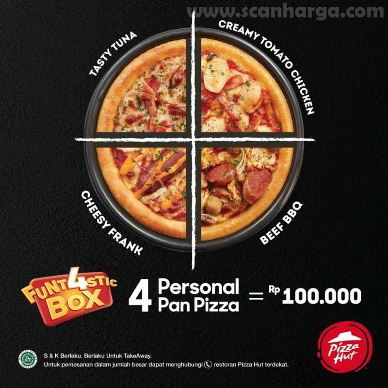 Pizza HUT Promo Funt4stic Box, 4 Personal Pan Pizza Hanya Rp 100Rb! 2