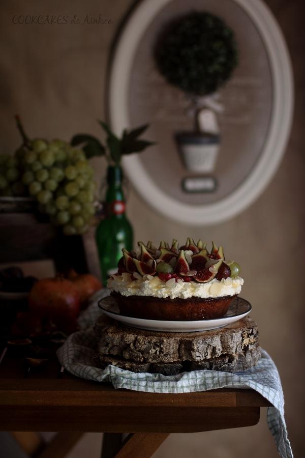 Tarta de Almendra y Miel con Frutas de Otoño - Cookcakes de Ainhoa