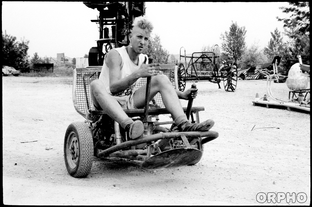 Uri in Mutonia on a homebuilt motor-tricycle, May 1993. Tony Graffio Photography.