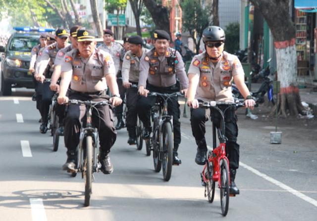Polresta Mojokerto Rutin Patroli dengan Bersepeda Pancal