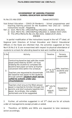 Conducting baseline test 2021 to students Modified Orders