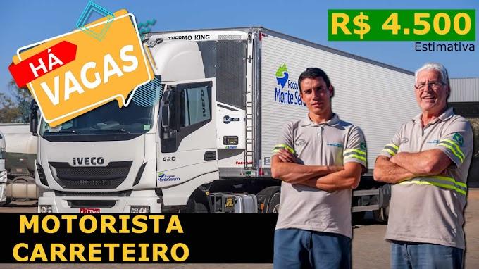 Transportadora Monte Sereno abre vagas para motorista com salário de R$ 4.500