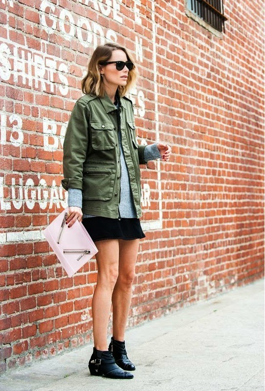 Wearing a Military Trend Outfit-Jacket Olive Green with Grey Sweater, Skirt and Black Ankle Boots