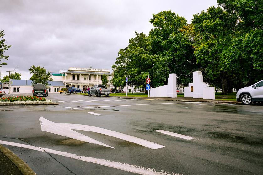 Road around the town square of Martinborough, Wairarapa, New Zealand.