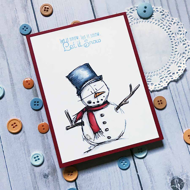 CAS card using snowman snowy snow digital stamp