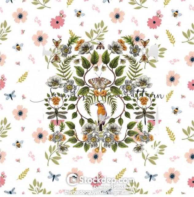 Download free Spring summer garden colorful flowers botanical floral flower vintage texture wallpaper