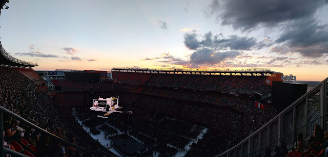 Cleveland Browns Stadium at sunset