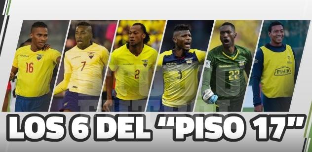 nombres de 6 futbolistas del piso 17