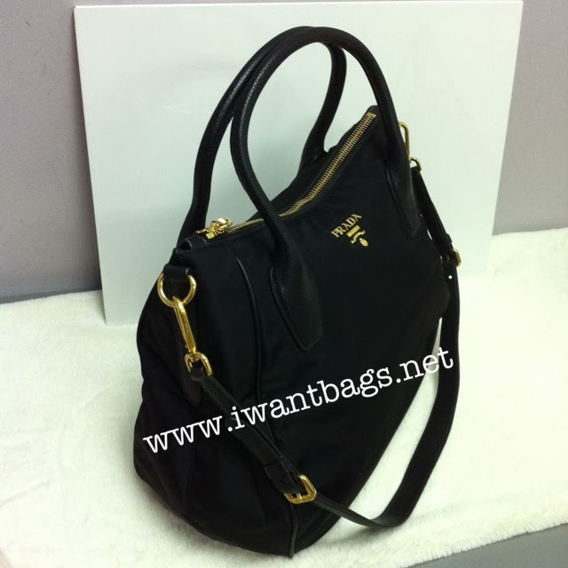 8a7423a0a395e9 I Want Bags backup: Prada BR4992 Tessuto Nylon Tote in Black
