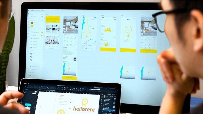 Tư vấn, thiết kế hệ thống thương hiệu hellorent, ứng dụng bất động sản tại Hợp chúng quốc Hoa Kỳ – Một dự án của Vũ Digital – Agency