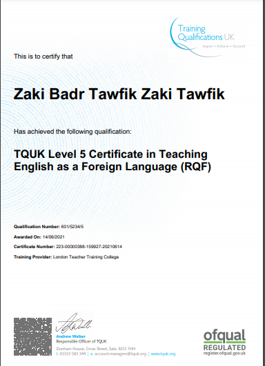 TEFL: Teaching English to Speakers from Other Languages, London, OFQUAL