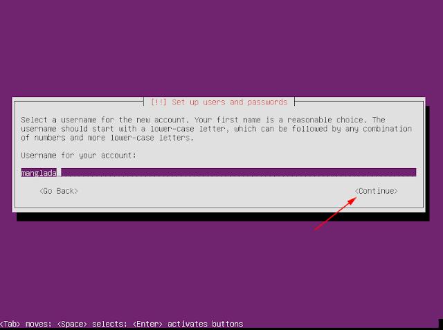 masukan username ubuntu server
