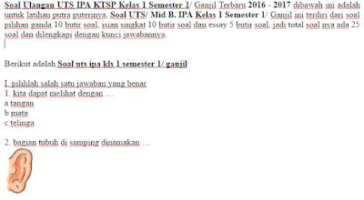 Soal Ulangan UTS IPA KTSP Kelas 1 Semester 1/ Ganjil Terbaru 2016 - 2017