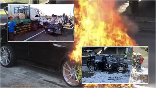 國道1彰化交流道不平靜  4車追撞接連下午又火燒車