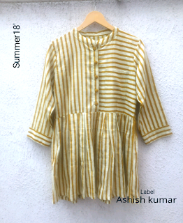Latest yellow stripe cotton top for girls 2019 by label Ashish kumar