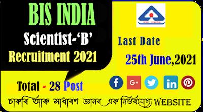 BIS Scientist B vacancy recruitment 2021