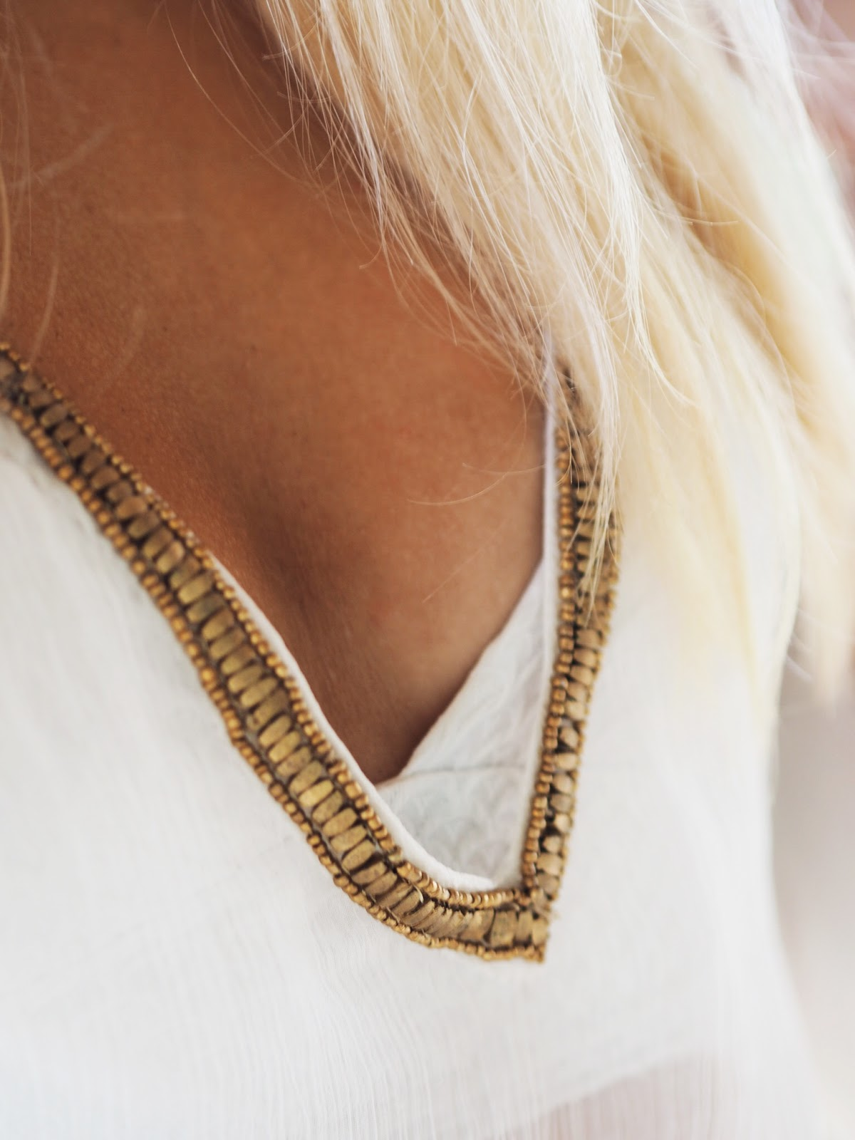 Close Up of Miss Tunica Perissa Tunic Neckline Detail
