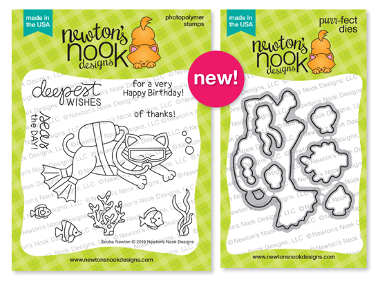 Scuba Newton | Scuba Diving Cat Stamp Set by Newton's Nook Designs #newtonsnook