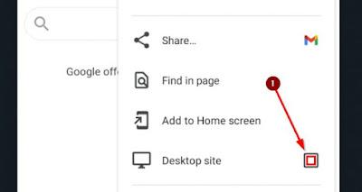 centang opsi desktop site di pengaturan browser