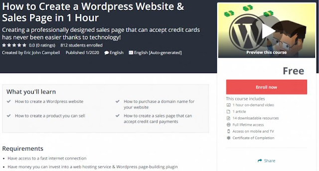 [100% Free] How to Create a Wordpress Website & Sales Page in 1 Hour