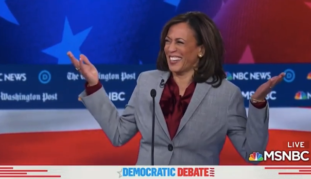 Kamala Harris laugh hands up MSNBC Washington Post debate Atlanta only African American black woman Senator