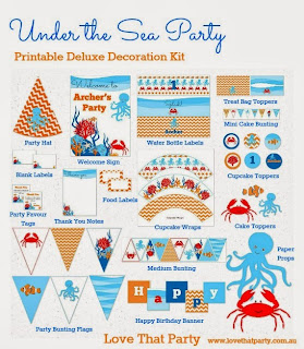 Under the Sea Birthday Party Decorations Printable personalised