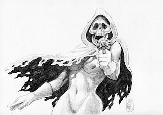 Captain Death, nu crayonné, Alexis Bacci