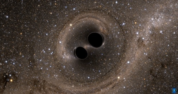 Merging black holes generate gravitational waves. These ripples in space-time might be used to unveil hidden dimensions. © Simulating eXtreme Spacetimes (SXS)