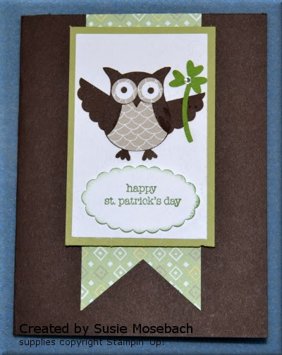 St. Patrick's day, Stamp with Trude, Stampin' Up!, owl builder punch, Teeny Tiny Wishes