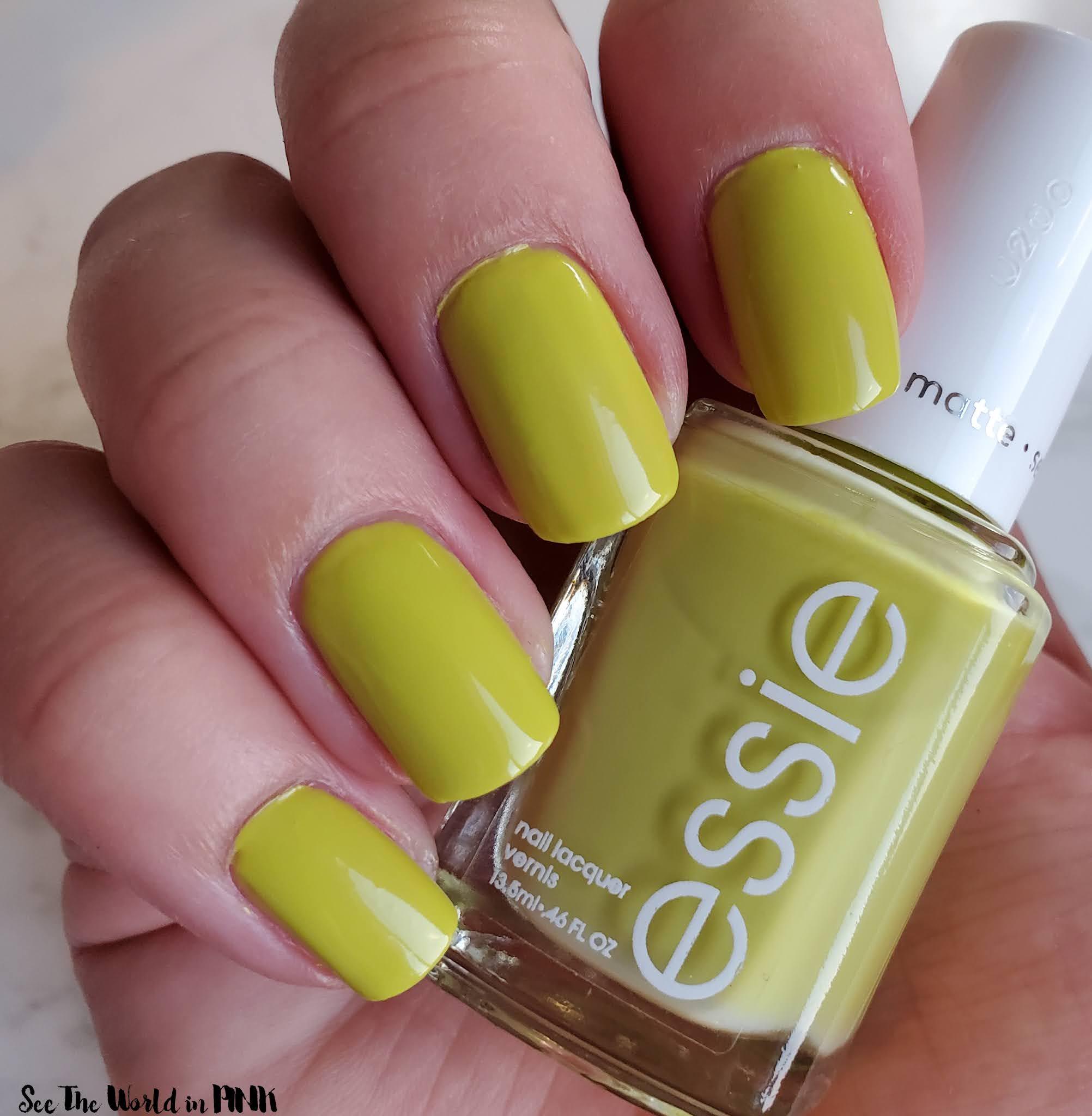 Manicure Monday - Matte Chartreuse Nails, Essie Have A Ball Polish