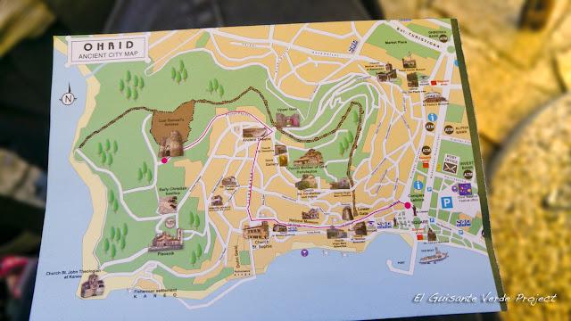 Mapa de la Ciudad Antigua de Ohrid - Macedonia por El Guisante Verde Project