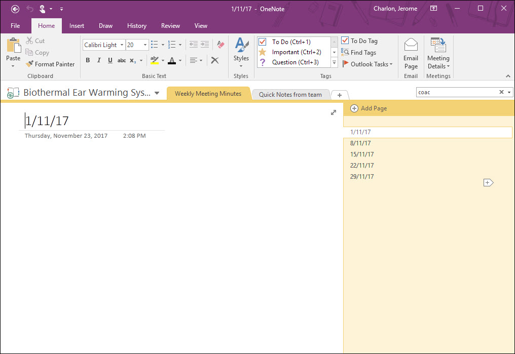 Now Jumping In Outlook You Can Create A Meeting Invite And Include Link To The Notebook Clicking On Following