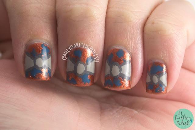 nails, nail art, nail polish, bows, bronze, blue, grey, bows, hey darling polish, the nail art guild, winter, fall, fashion