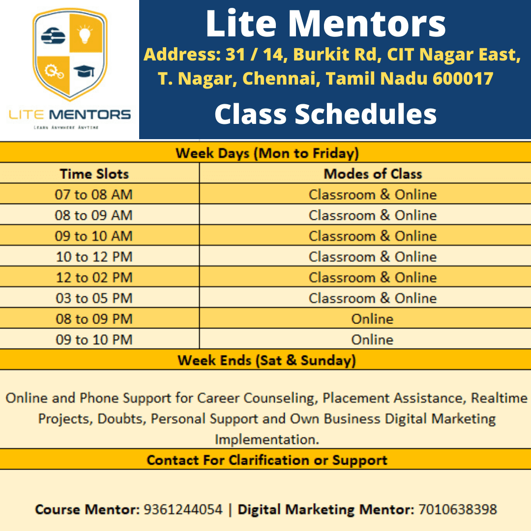 Digital Marketing Course Schedules Lite Mentors Digital Marketing Course Training Institute