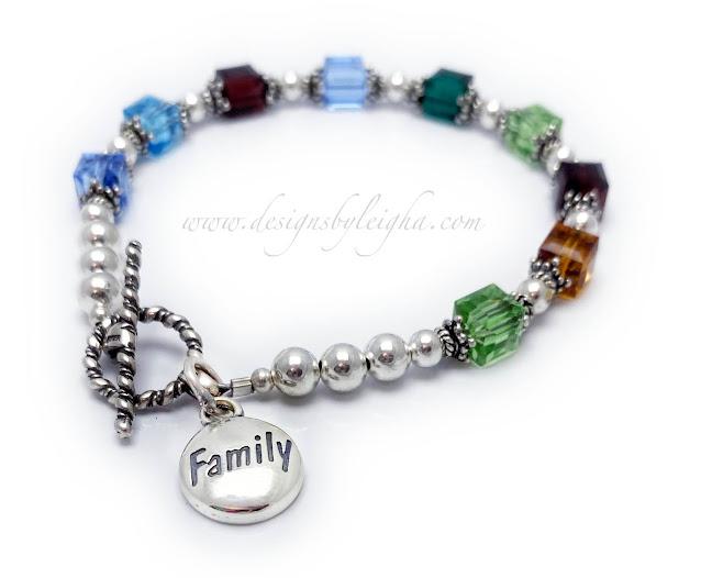 Family Charm Birthstone Bracelet with 9 Birthstones