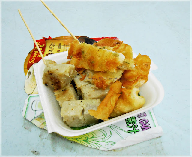Prawn cracker and yam cakes,Chinese street food to try in Teluk Intan, Perak, Malaysia