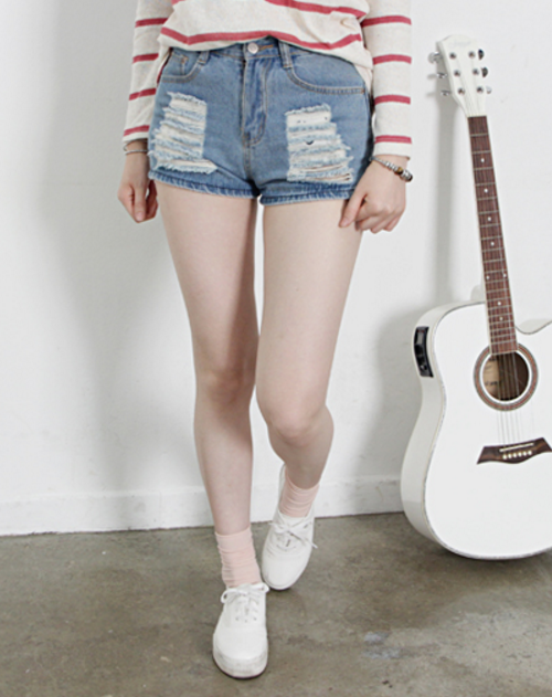Slim Fit Distressed Denim Shorts