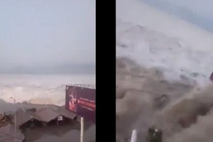 Video  Amatir Tsunami Dahsyat di Palu Usai Gempa 7,7 SR, Warga Panik