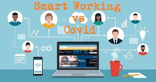"""Disegno di postazione di lavoro con laptop e smartphone, volti stilizzati e scritta """"Smart working VS Covid"""""""
