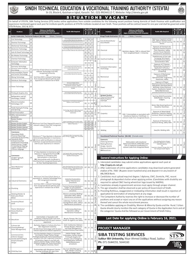 STEVTA Sindh Technical Education & Vocational Training Authority Jobs 2021 Via SIBA STS Testing Service Apply Online