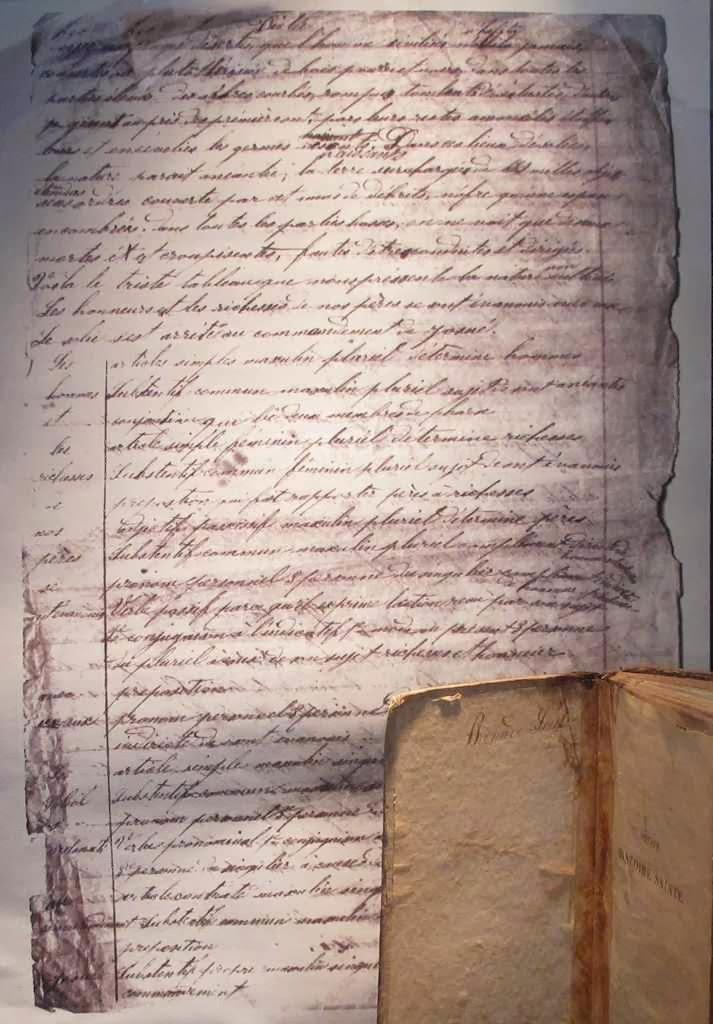 Manuscrito de Santa Bernadette com um exercício gramatical
