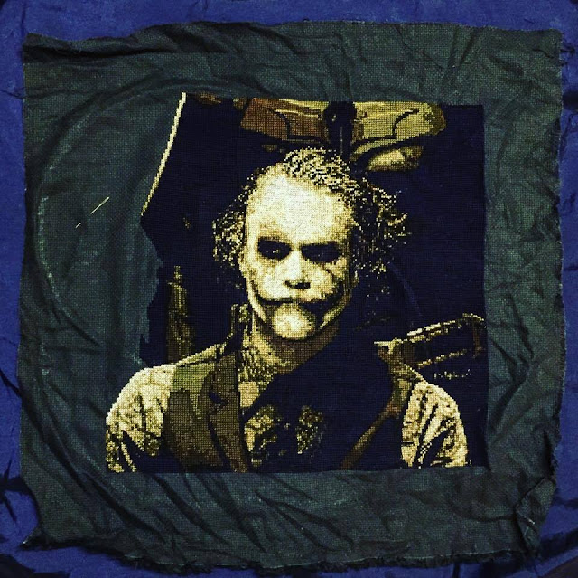 Heath ledger as the joker needlework the dark knight