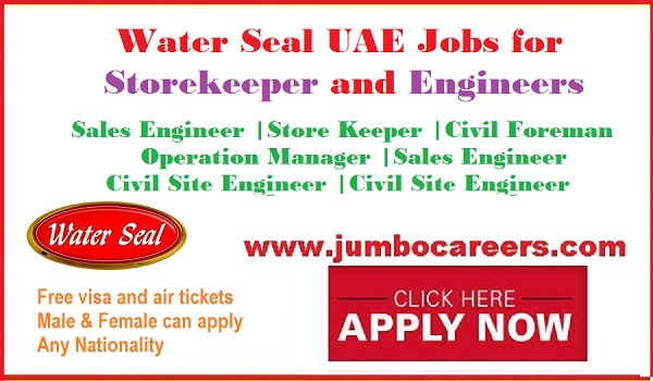 Latest UAE jobs with free visa and air ticket, Urgent water seal company jobs,