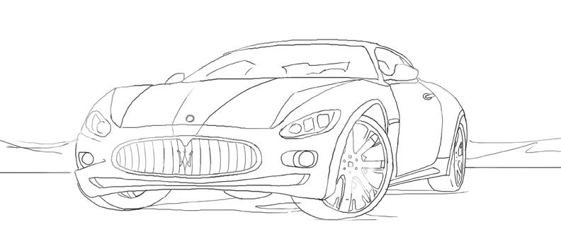 Maserati Drawings Sketch Coloring Page