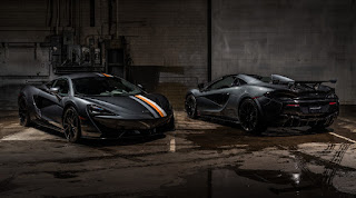 McLaren 570S Coupé 'Sarthe Grey' (2019) Front Side and 570S Spider 'Sarthe Grey' (2019) Rear Side
