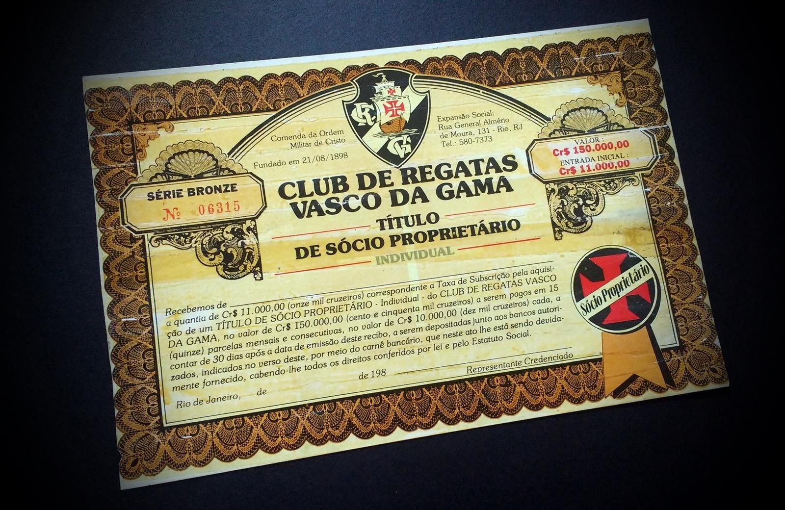 Título de Sócio Proprietário Individual do Club de Regatas Vasco da Gama 4b2d4ee2f29ed
