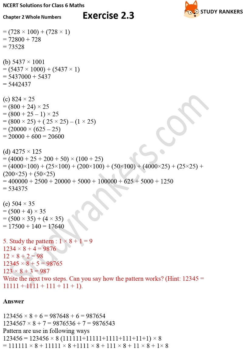 NCERT Solutions for Class 6 Maths Chapter 2 Whole Numbers Exercise 2.3 Part 2