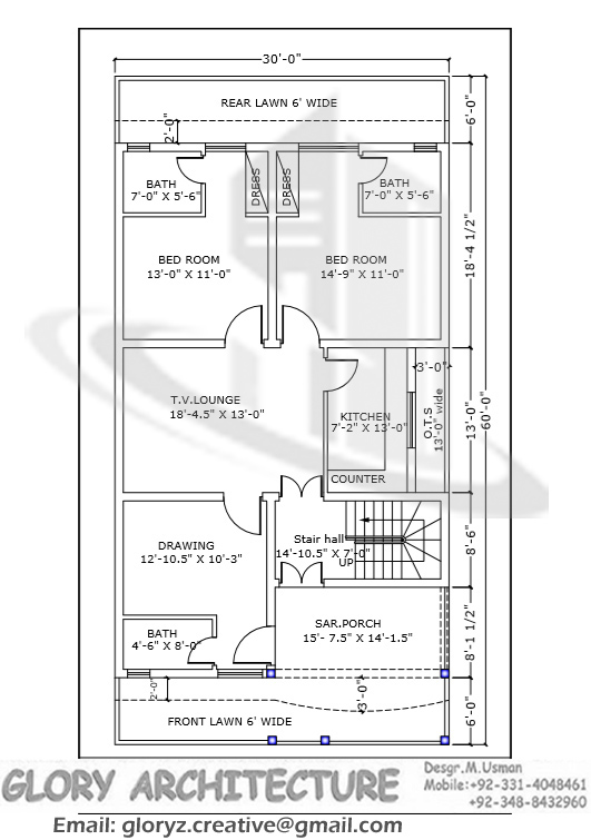 30x60 house plan,elevation,3D view, drawings, Pakistan ...