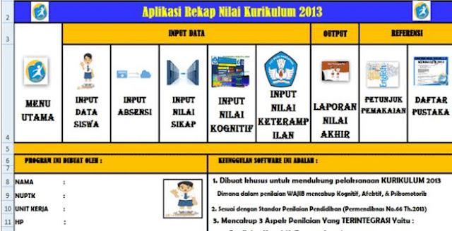 Download Aplikasi Rekap Nilai Kurikulum 2013 SD,SMP,SMA Versi 2017