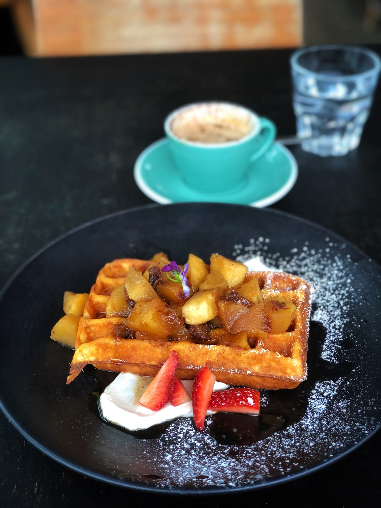 corner store cafe in brisbane waffles with fresh fruit